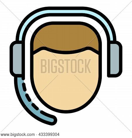 Man Call Center Icon. Outline Man Call Center Vector Icon Color Flat Isolated