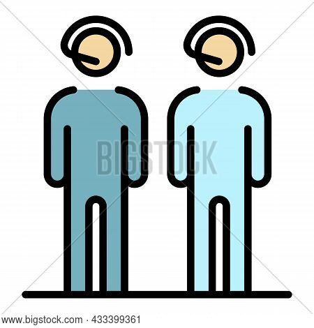 Call Center People Group Icon. Outline Call Center People Group Vector Icon Color Flat Isolated
