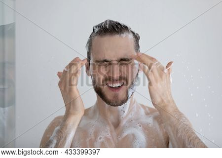 Man Takes Shower Having Eyes Tearing Up Due Sulphate Shampoo