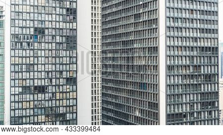 City Building Tower Wall Pattern Background Of Office Business, Hotel, Condominium Highrise, Urban L