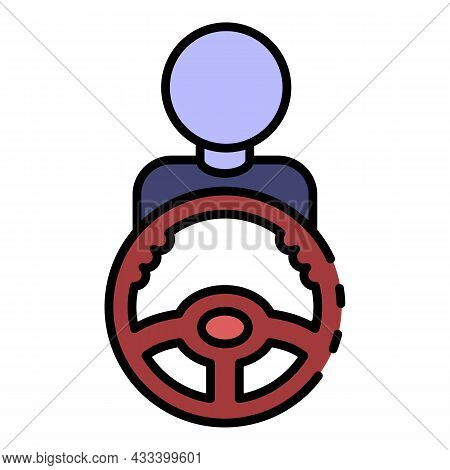Man Take Car Steering Wheel Icon. Outline Man Take Car Steering Wheel Vector Icon Color Flat Isolate
