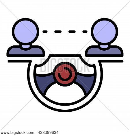 Car Share Steering Wheel Icon. Outline Car Share Steering Wheel Vector Icon Color Flat Isolated