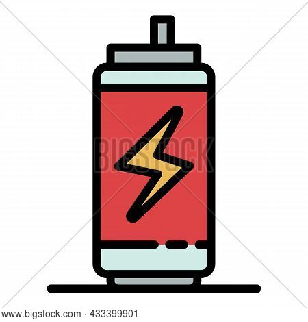 Energy Drink Tin Can Icon. Outline Energy Drink Tin Can Vector Icon Color Flat Isolated