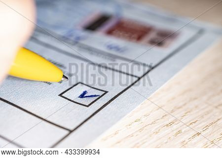 Mark In Square On The Electoral Ticket. The Choice Of A Political Party To Vote On. Mark In The Sele