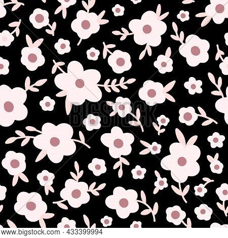 Ditsy Floral Seamless Pattern. Tiny Wildflowers, Pink Meadow Flowers, Scattered Daisies. Vintage Mil