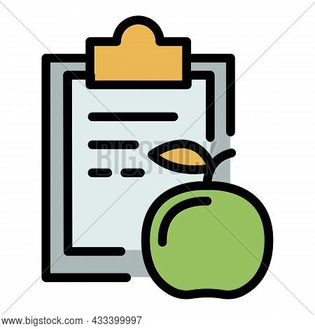 Clipboard Diet Icon. Outline Clipboard Diet Vector Icon Color Flat Isolated