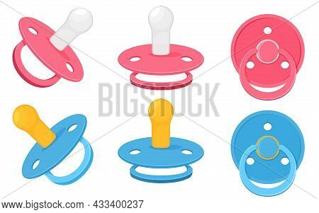 Set Icons Of Pacifier Baby Dummy Care Nipple For Newborn Child , Nipples Dummies Blue For Boy And Pi