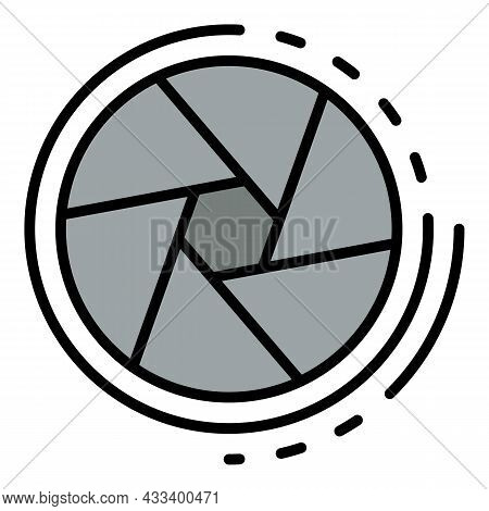 Cinema Shutter Icon. Outline Cinema Shutter Vector Icon Color Flat Isolated