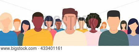 Young Multicultural People Crowd. Human Portraits Collection. Diverse Business Men And Women Avatar