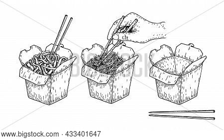 Illustration Vector Sketch Of Rice Noodle. Isolated Chinese Box And Chopsticks With Noodles And Vege