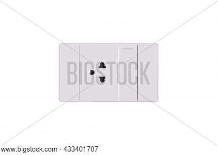 White Power Socket And Light Switch Isolated From White Background