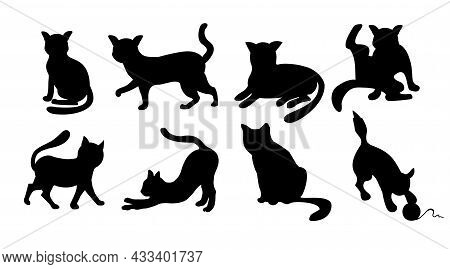 Set Of Cats Silhouettes On A White Background. Elegant Cat Icons, Funny Cartoon Curiosity Black Anim