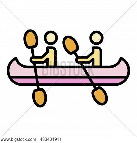 Double Kayak Boat Icon. Outline Double Kayak Boat Vector Icon Color Flat Isolated