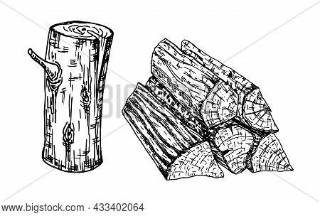 Wood, Burning Materials. Wood Logs, Trunk And Planks, Vector Sketch Illustration. Materials For Wood