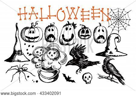 Hand Drawn Halloween Traditional Symbols. Doodle Style Illustrations Carved Pumpkin, Spider Web, Rav