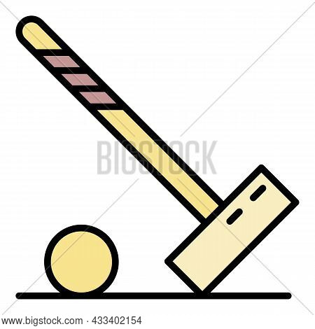 Mallet Croquet Ball Icon. Outline Mallet Croquet Ball Vector Icon Color Flat Isolated