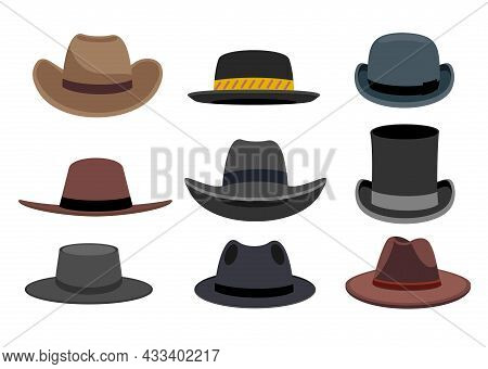 Illustration Featuring Different Types Of Men S Hats. Different Male Hats. Fashion And Vintage Man H
