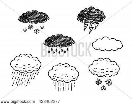 Sketch Represents The Precipitation In Nature In The Form Of Rain, Hail, Snow. Precipitation Vector