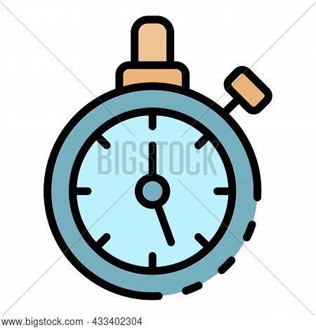 Cycling Stopwatch Icon. Outline Cycling Stopwatch Vector Icon Color Flat Isolated