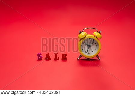 Sale Text On A Red Bacground. Copy Space. Sale Banner.
