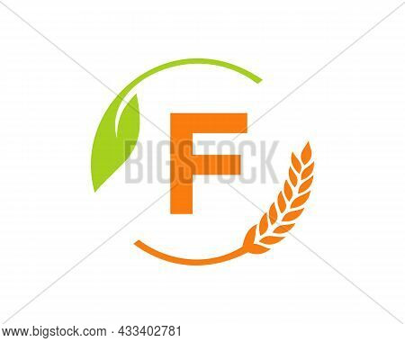 Agriculture Logo On F Letter Concept. Agriculture And Farming Logo Design. Agribusiness, Eco-farm An