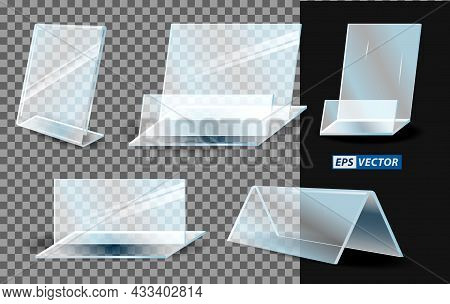 Set Of Realistic Acrylic Blank Transparent Plastic Or Stand Holder Acrylic For Banner Or Menu Paper