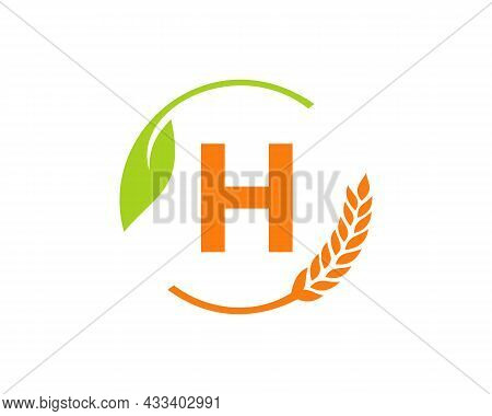 Agriculture Logo On H Letter Concept. Agriculture And Farming Logo Design. Agribusiness, Eco-farm An