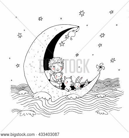 Boy And His Toys Are Floating On The Moon On The Sea. A Fairy Tale About A Cute Baby And His Friends