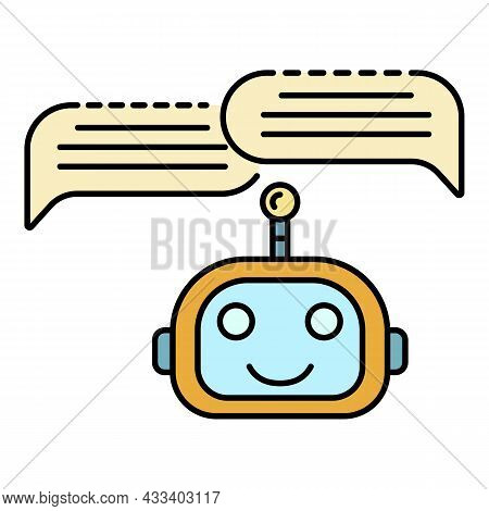 Chat Bot Two Bubbles Icon. Outline Chat Bot Two Bubbles Vector Icon Color Flat Isolated