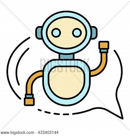 Chat Bot In A Bubble Icon. Outline Chat Bot In A Bubble Vector Icon Color Flat Isolated