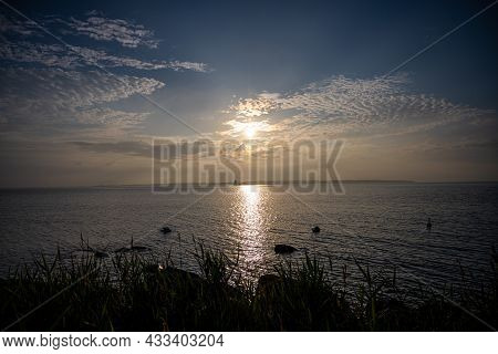 A Beautiful Sunset Over The Baltic Sea. Picture From The Swedish Island Oland