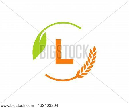 Agriculture Logo On L Letter Concept. Agriculture And Farming Logo Design. Agribusiness, Eco-farm An