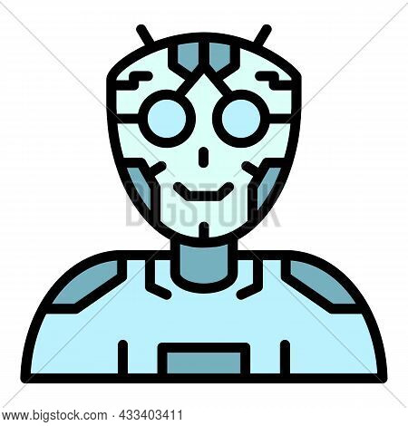 Ai Humanoid Intellect Icon. Outline Ai Humanoid Intellect Vector Icon Color Flat Isolated