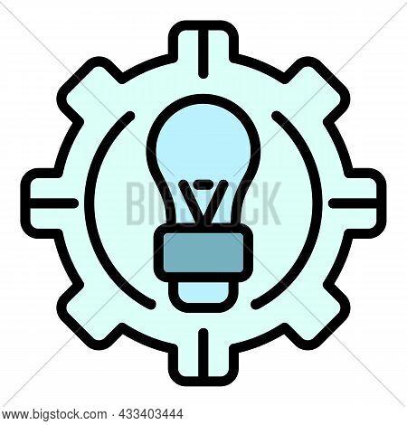 Ai Gear Idea Icon. Outline Ai Gear Idea Vector Icon Color Flat Isolated