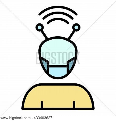 Cyborg Icon. Outline Cyborg Vector Icon Color Flat Isolated