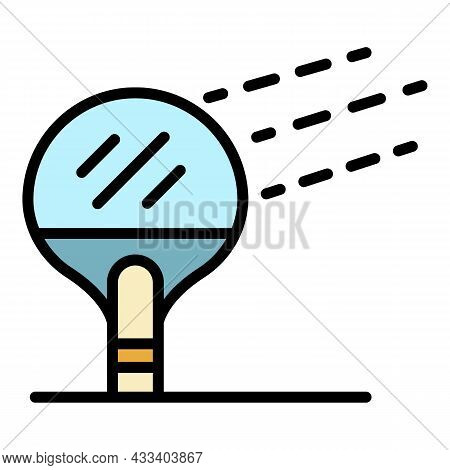 Ping Pong Paddle Icon. Outline Ping Pong Paddle Vector Icon Color Flat Isolated