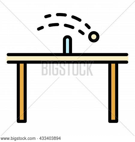 Table Tennis Icon. Outline Table Tennis Vector Icon Color Flat Isolated
