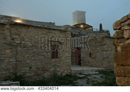 Restored Khoi Village At Dawn. Ancient Khoy Village Located On The Bank Of Ahkhete River. Chechnya (