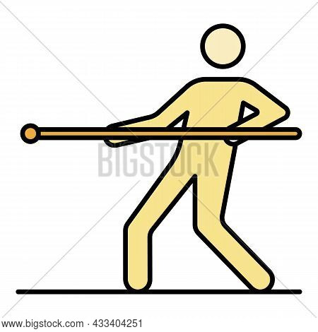One Man Tug Of War Icon. Outline One Man Tug Of War Vector Icon Color Flat Isolated
