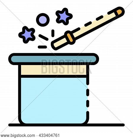 Magic Band Hat Icon. Outline Magic Band Hat Vector Icon Color Flat Isolated