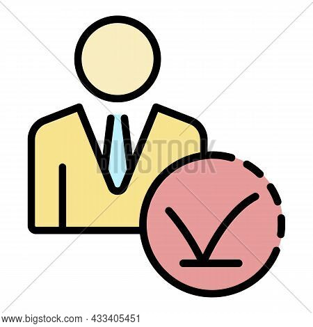 Recruitment Man Approved Icon. Outline Recruitment Man Approved Vector Icon Color Flat Isolated