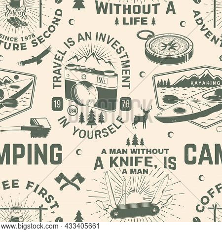 Summer Camp Seamless Pattern Or Background. Vector. Seamless Scene With Photo Camera, Kayak , Mounta