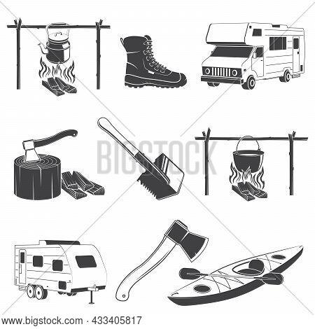 Camping And Outdoors Icons. Set Include Shovel, Axe, Kayak With Paddle, Hiking Boots, Camper, Traile