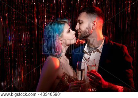 Happy Anniversary. Beloved Couple. Party Celebration. Enjoying Together. Romantic Man And Woman Embr