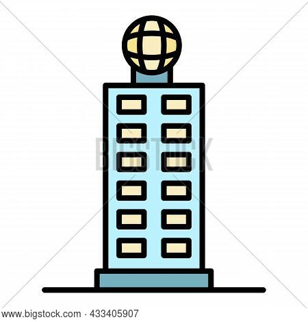 Corporate Building Icon. Outline Corporate Building Vector Icon Color Flat Isolated