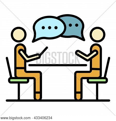 Corporate Meeting Icon. Outline Corporate Meeting Vector Icon Color Flat Isolated