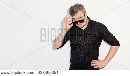 Male Fashion. Advertising Banner. Eyewear Accessories. Menswear Flyer. Trendy Stylish Confident Man