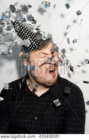 Birthday Man. Funny Celebration. Party Joy. Holiday Fun. Ridiculous Guy Portrait With Silly Face In