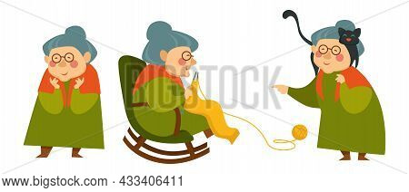Grandmother With Cat, Knitting Granny In Chair