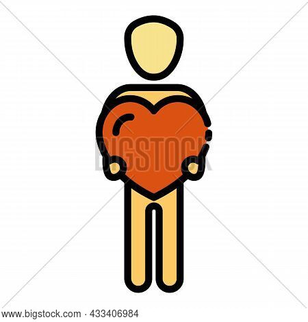 Man Holds Heart Icon. Outline Man Holds Heart Vector Icon Color Flat Isolated